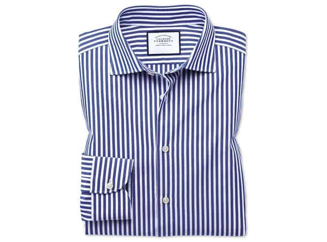 Chemise décontractée leno texture à rayures bleues et blanches