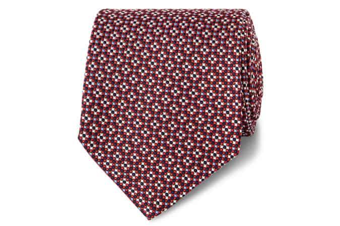 Cravate en soie à motif géométrique rouge Lewin Made in England TM