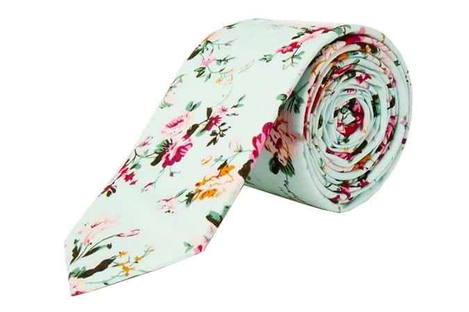 Cravate à fleurs turquoise