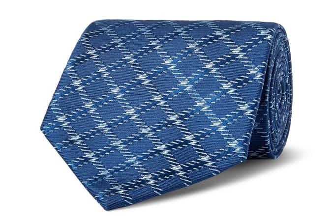 CHARVET Cravate en jacquard de soie à carreaux de 8,5 cm