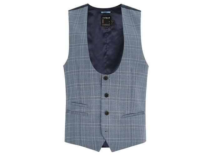 Blue Tonal Check Suit Waistcoat