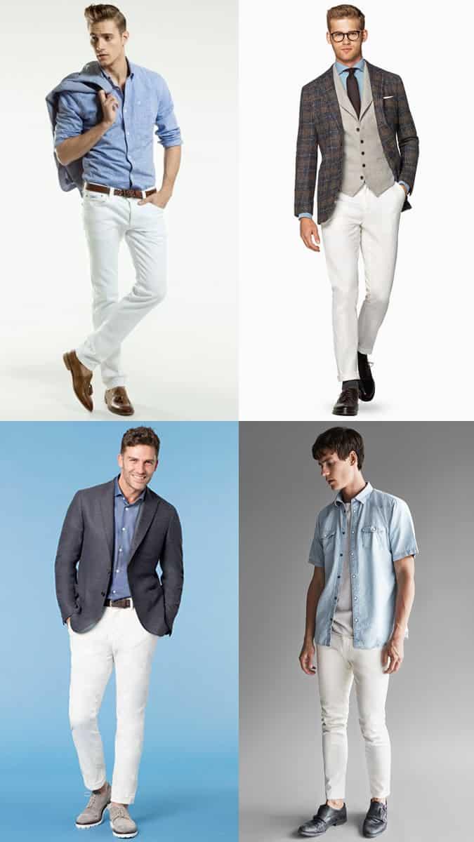 Combinaisons de jeans blancs et chemises en denim / chambray pour hommes