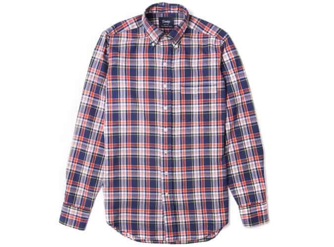 Chemise à carreaux Madras bleu marine et rouge de Drake avec col boutonné