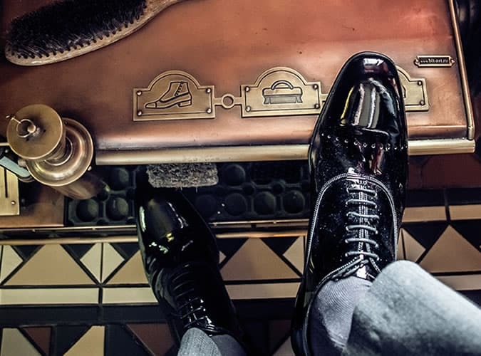 chaussures Oxford noir brillant