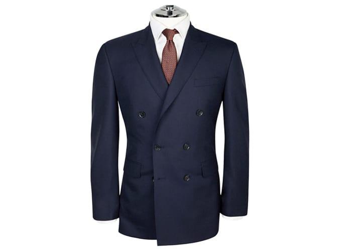 Veste à double boutonnage Fitzrovia en laine italienne Barberis bleu marine