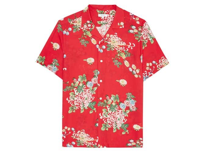 Chemise à manches courtes slim Reiss en imprimé floral rouge