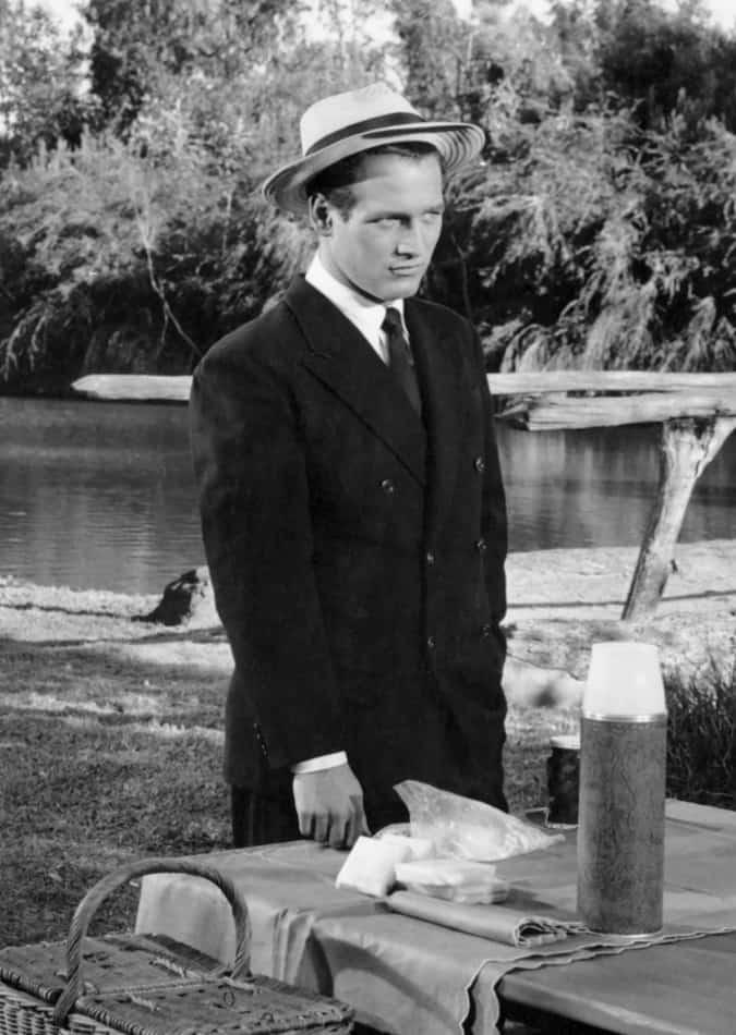 Paul Newman sur le plateau du film The Long, Hot Summer, 1958