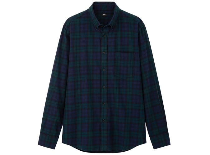 Uniqlo HOMME FLANELLE REGULAR FIT CHECKED SHIRT COL BOUTONNÉ