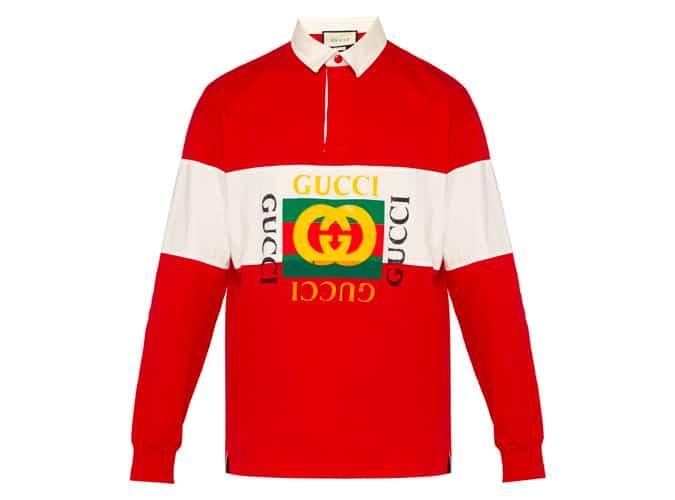 Chemise de rugby en jersey de coton à logo Faux GUCCI