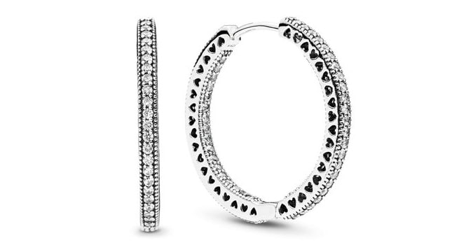 pandora Sparkle & Hearts Hoop Earrings