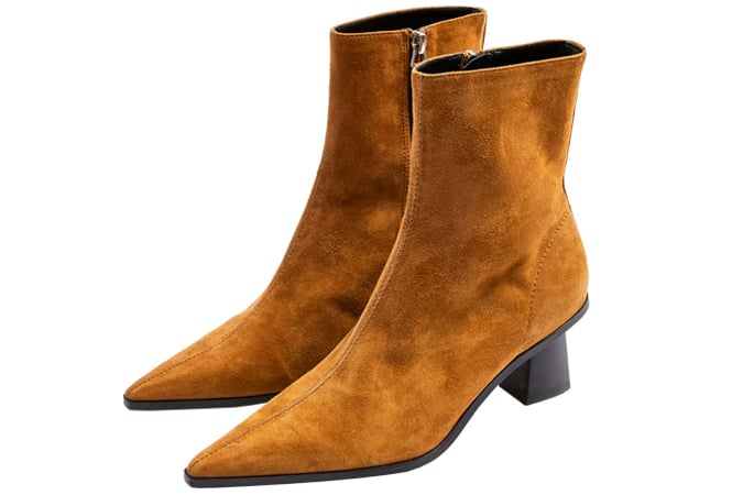 Topshop MAILE Leather Tan Point Boots