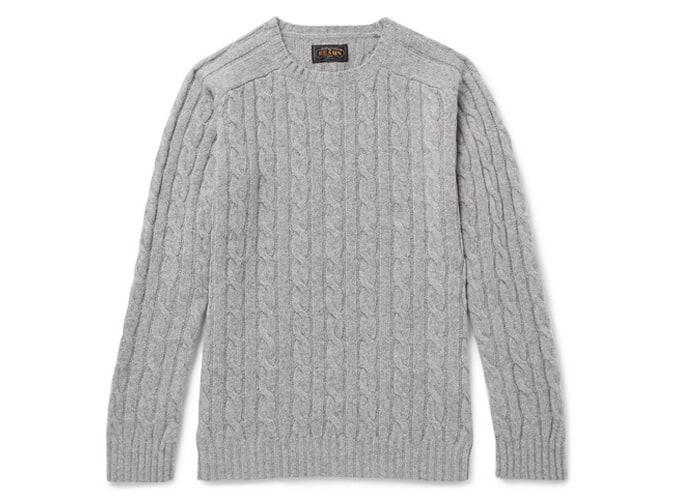 Pull en laine mélangée à mailles torsadées