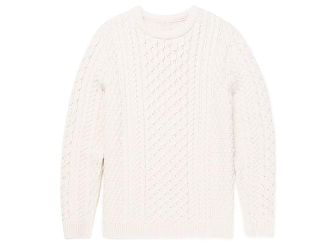 Pull homme en maille de laine mérinos en blanc archivé