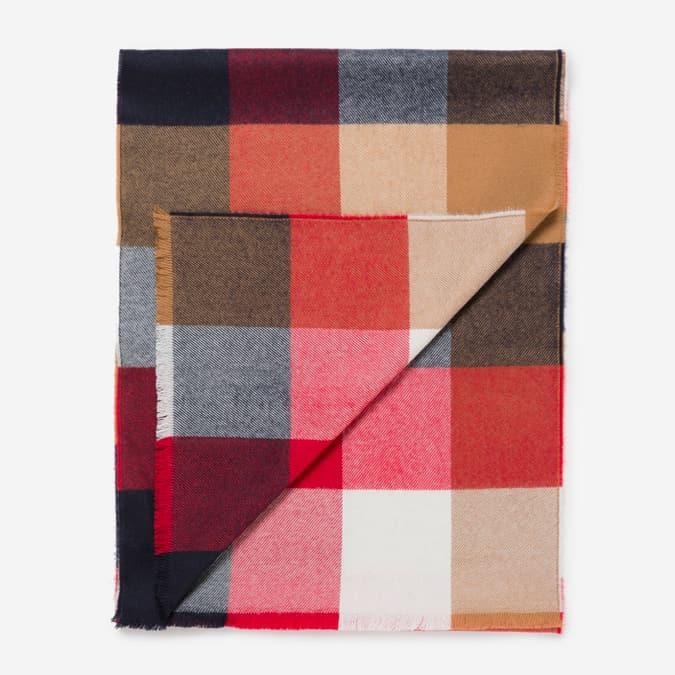 Écharpe extra fine en laine mérinos à carreaux