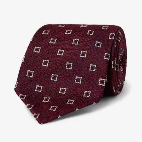 DRAKE'S Cravate jacquard en soie et lin mélangés 8 cm