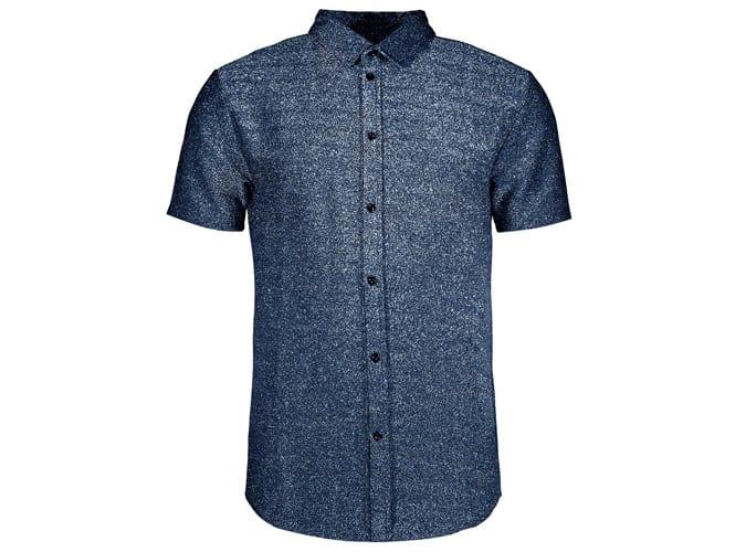 Chemise à manches courtes en jersey métallisé coupe musclée