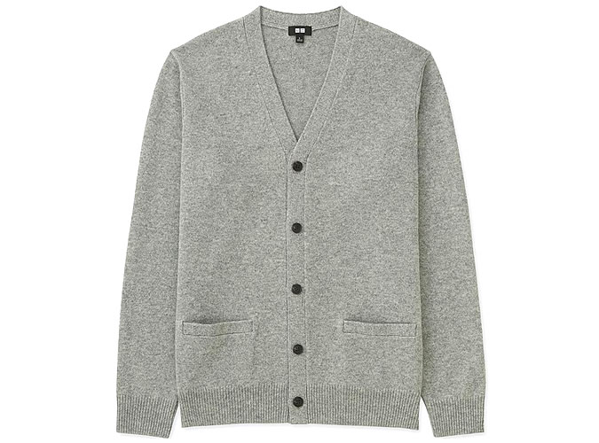 CARDIGAN HOMME PREMIUM LAMBSWOOL V NECK MANCHES LONGUES