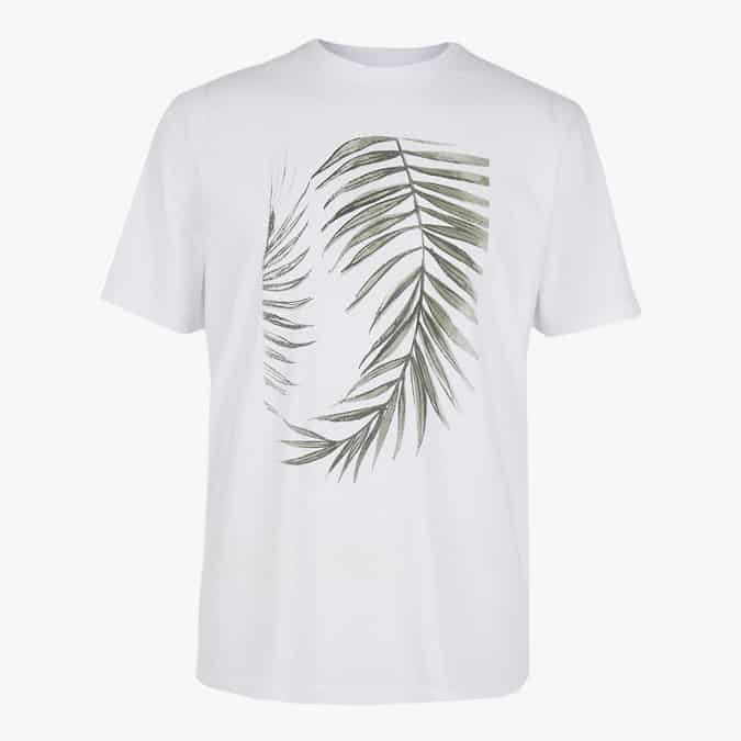 T-shirt 100% coton à imprimé feuilles