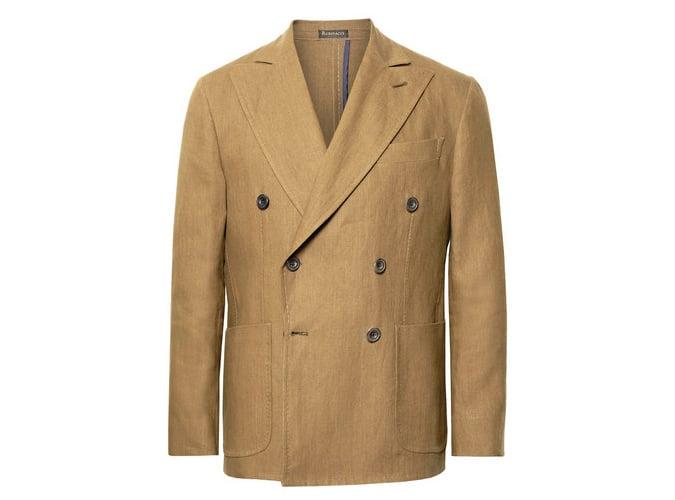 Veste de costume en lin à double boutonnage marron RUBINACCI