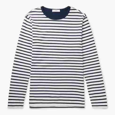 T-shirt rayé en jersey de coton à manches longues MR P.