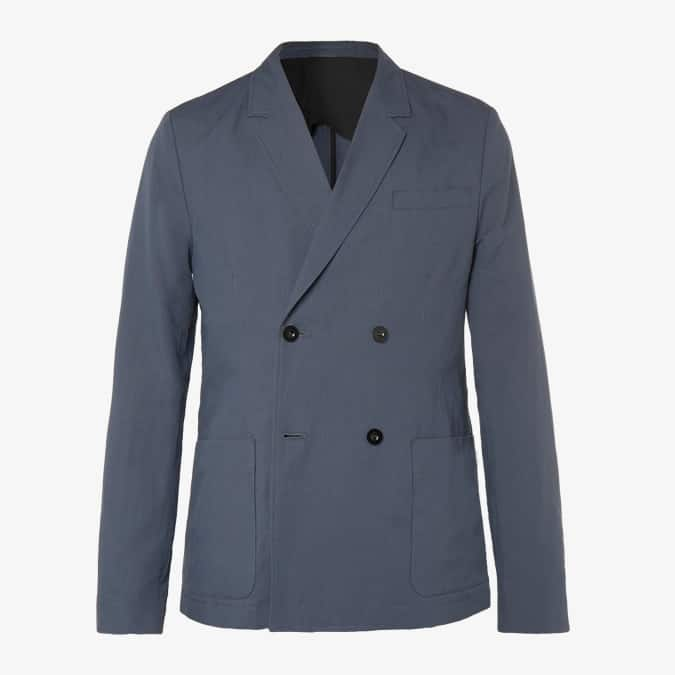 Veste de costume en coton et coton mélangés non structurés bleu foncé MR P.