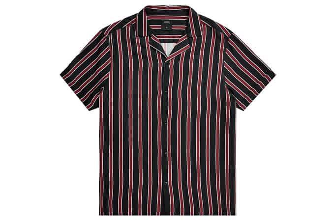 Chemise rayée viscose à manches courtes bordeaux