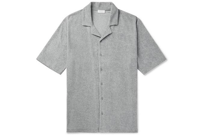 Chemise en coton et éponge à col Camp SUNSPEL Mélange