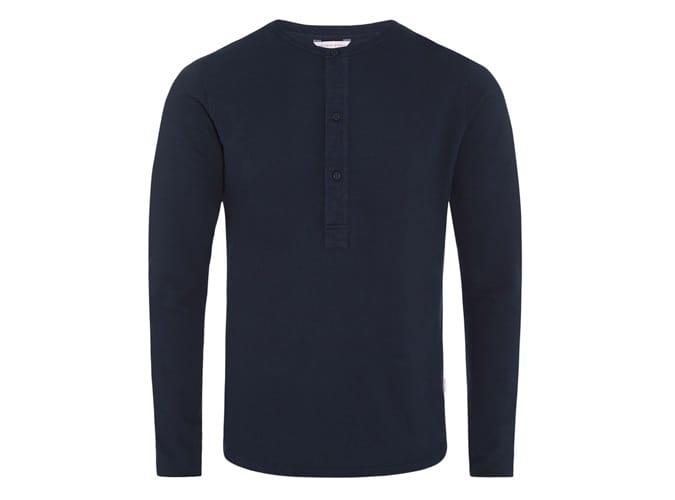 CRAINE WAFFLE Navy Henley T-Shirt