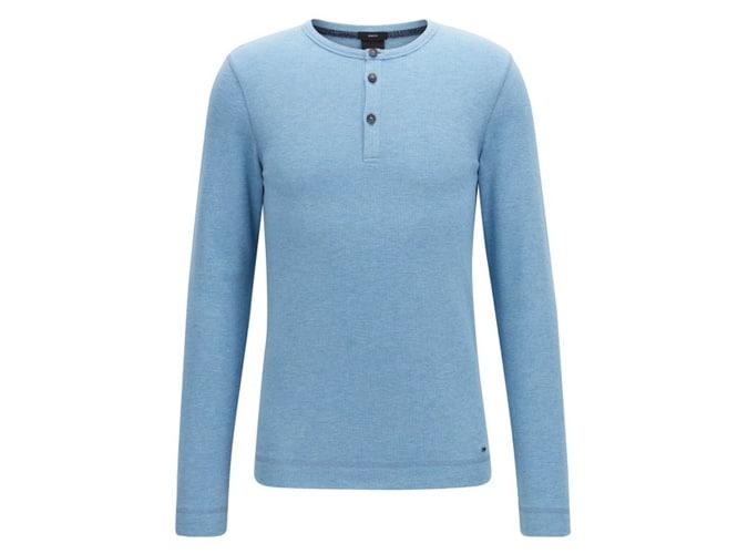 T-shirt Henley coupe slim en coton gaufré chiné