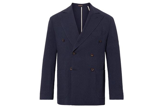 RUBINACCI Blazer croisé en laine croisée non structurée bleu marine
