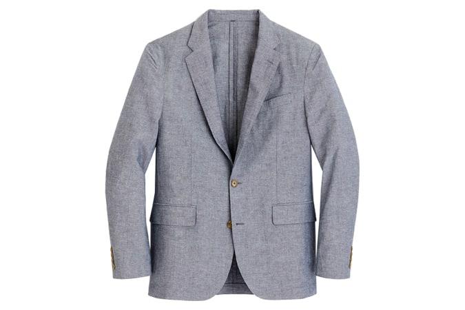 Veste de costume Ludlow coupe classique non structurée en coton et lin