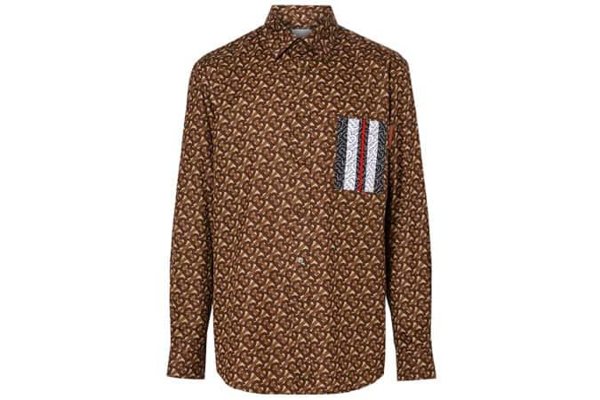 Monogram Stripe Print Cotton Shirt