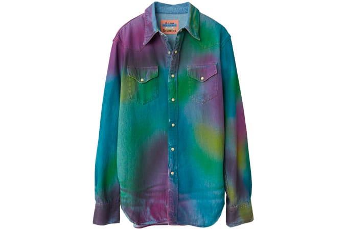 Denim shirt rainbow spray