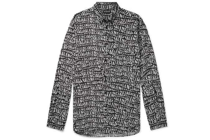 BALENCIAGA Oversized Button-Down Collar Logo-Print Woven Shirt