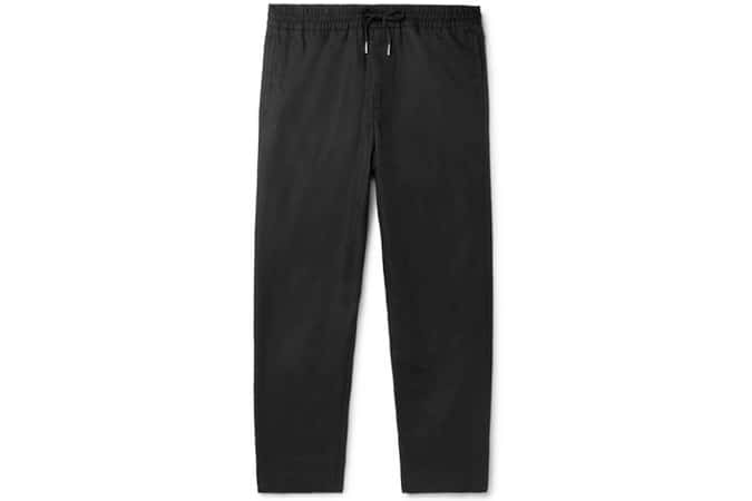 Pantalon à cordon fuselé en lin et coton mélangés noir MR P.