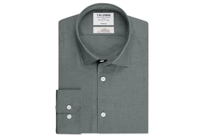 Albini Mill Herringbone Slim Fit Grey Single Cuff Shirt