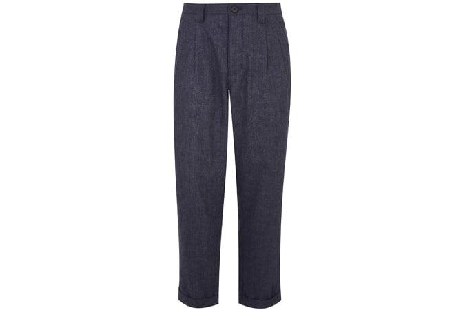 HCFG by Hannah Gibbins - Pantalon droit en mélange de laine plissée texturé bleu marine