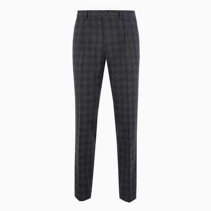 M&S COLLECTION Pantalon coupe slim en laine mélangée à carreaux