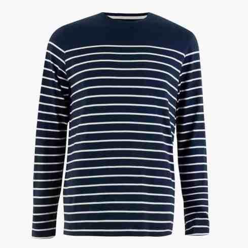 M&S COLLECTION T-shirt à rayures en coton riche