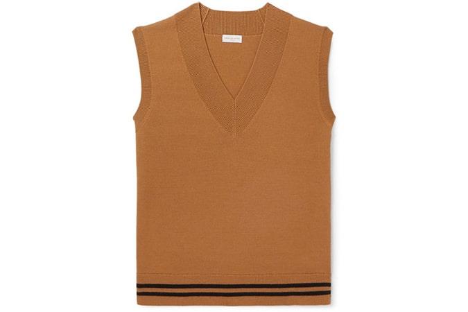 DRIES VAN NOTEN Striped Merino Wool Sweater Vest