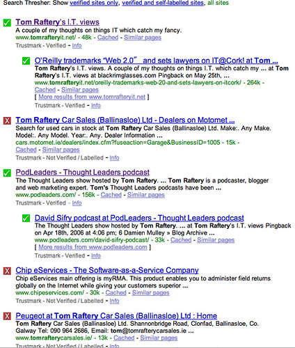 Search Thresher showing all sites