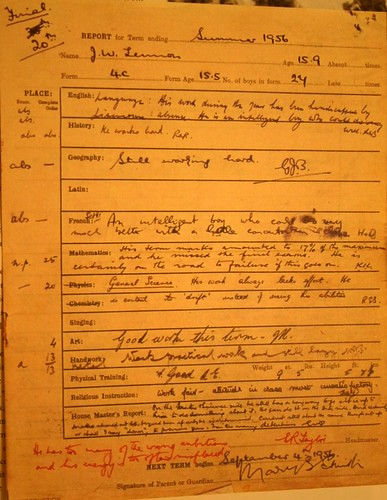 John Lennon Report Card