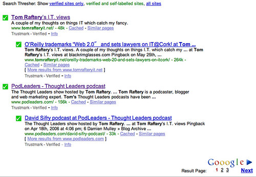Search Thresher showing only verified and self-labelled sites