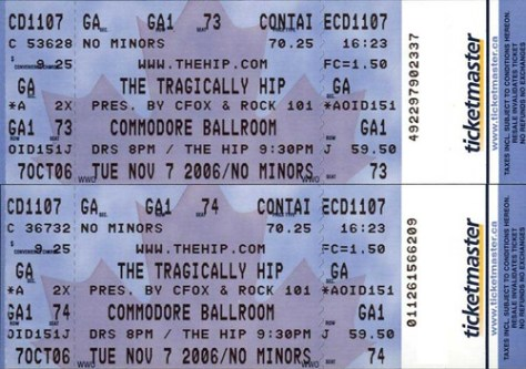 Tragically Hip tickets