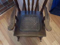 Rocking chair seat-getting scratched up