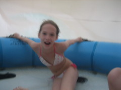 Micaela goes for a spin on the water slide at Raging Waters, San Dimas, California