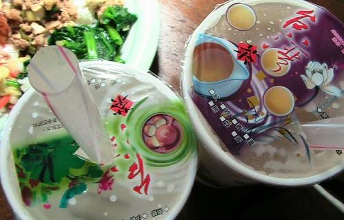 grass jelly and boba milk tea