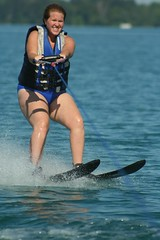 Carrie water-skiing (by Matt Stratton)