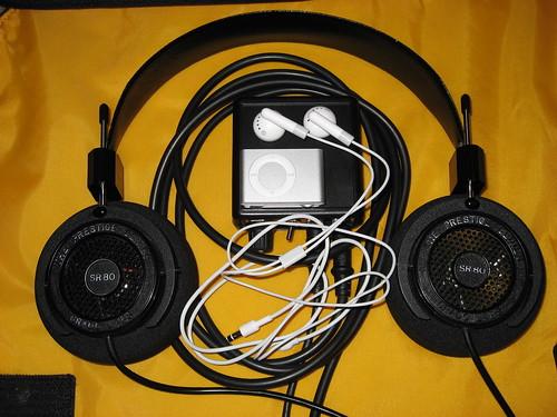 iPod Shuffle, headphones, and amp