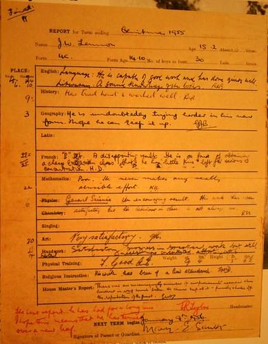 John Lennon Report Card